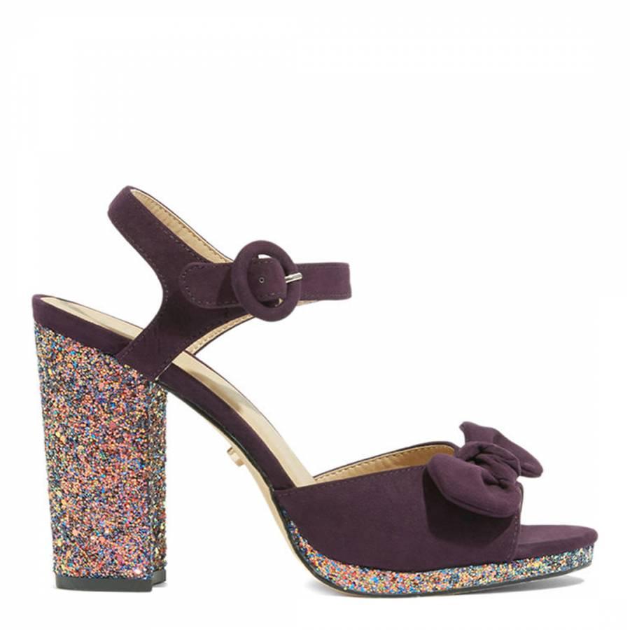 92002f2b941 Dark Purple Bennie Bow Glitter Heels - BrandAlley