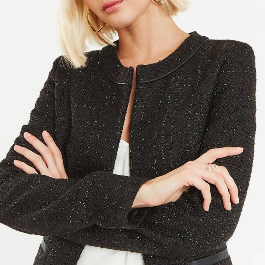 a87f307df772 Black Button Sparkle Tweed Jacket - BrandAlley