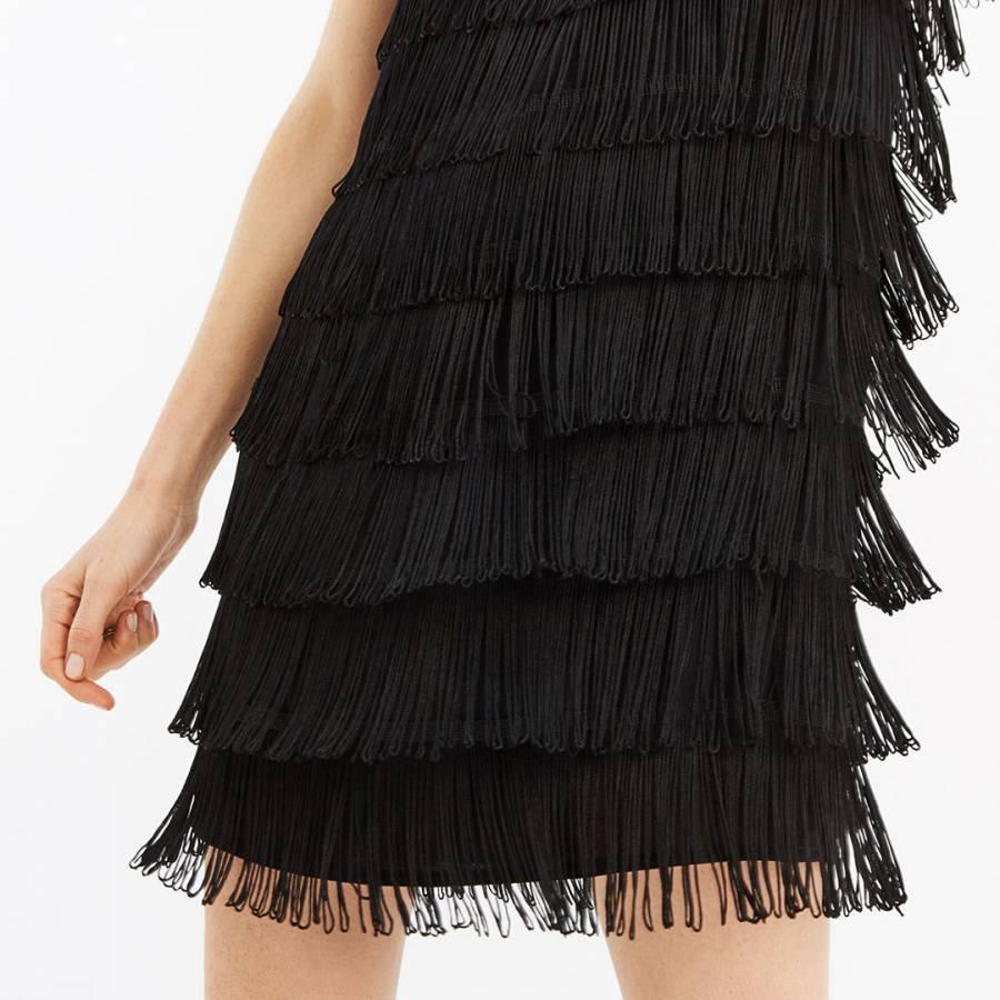 0cc221ad29f1 Black Lace Fringe Shift Dress - BrandAlley
