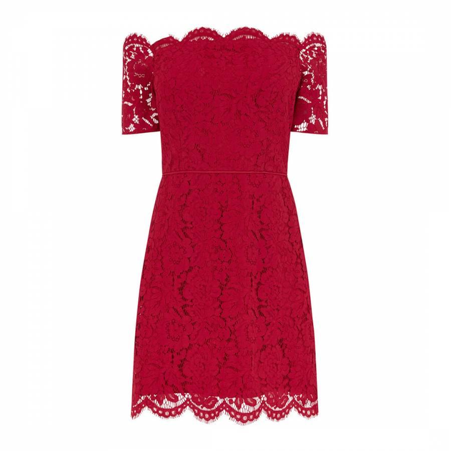 8e3cbf5f82da Mid Red Lace Bardot Shift Dress - BrandAlley