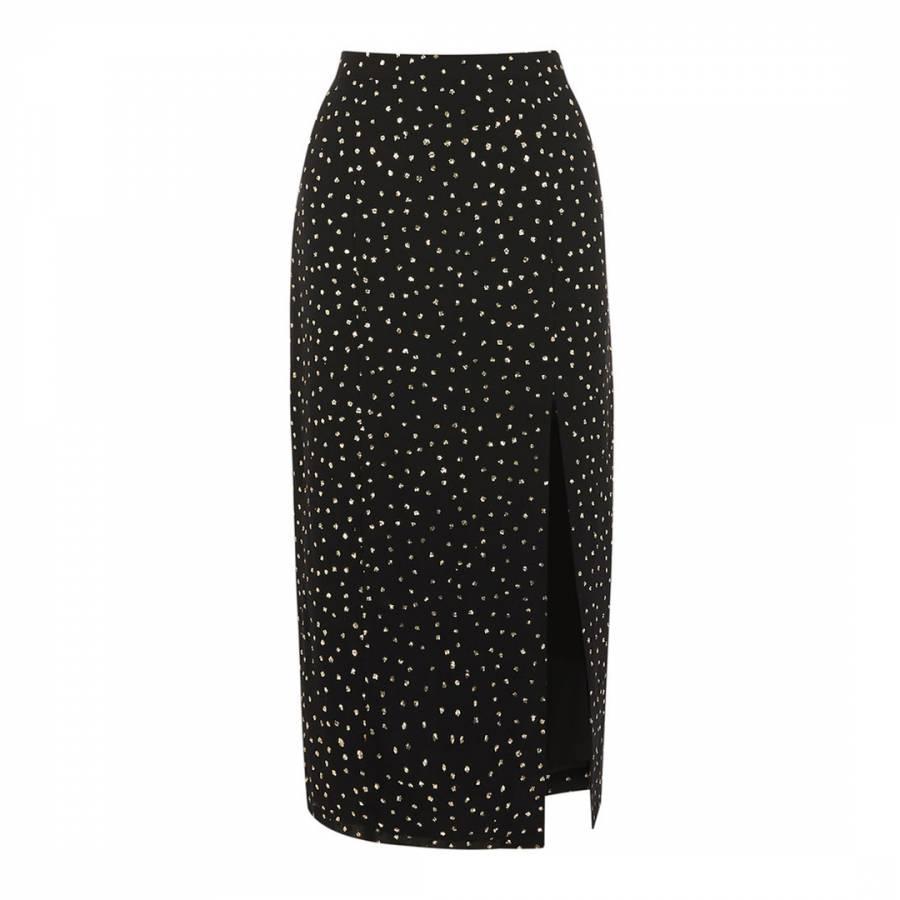 faaf079fba8 Multi Black Glitter Spot Column Midi Skirt - BrandAlley