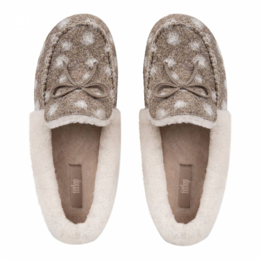 62b41184ee4d9e Taupe Wool Polka Dot Clara Shearling Moccasin Slippers - BrandAlley