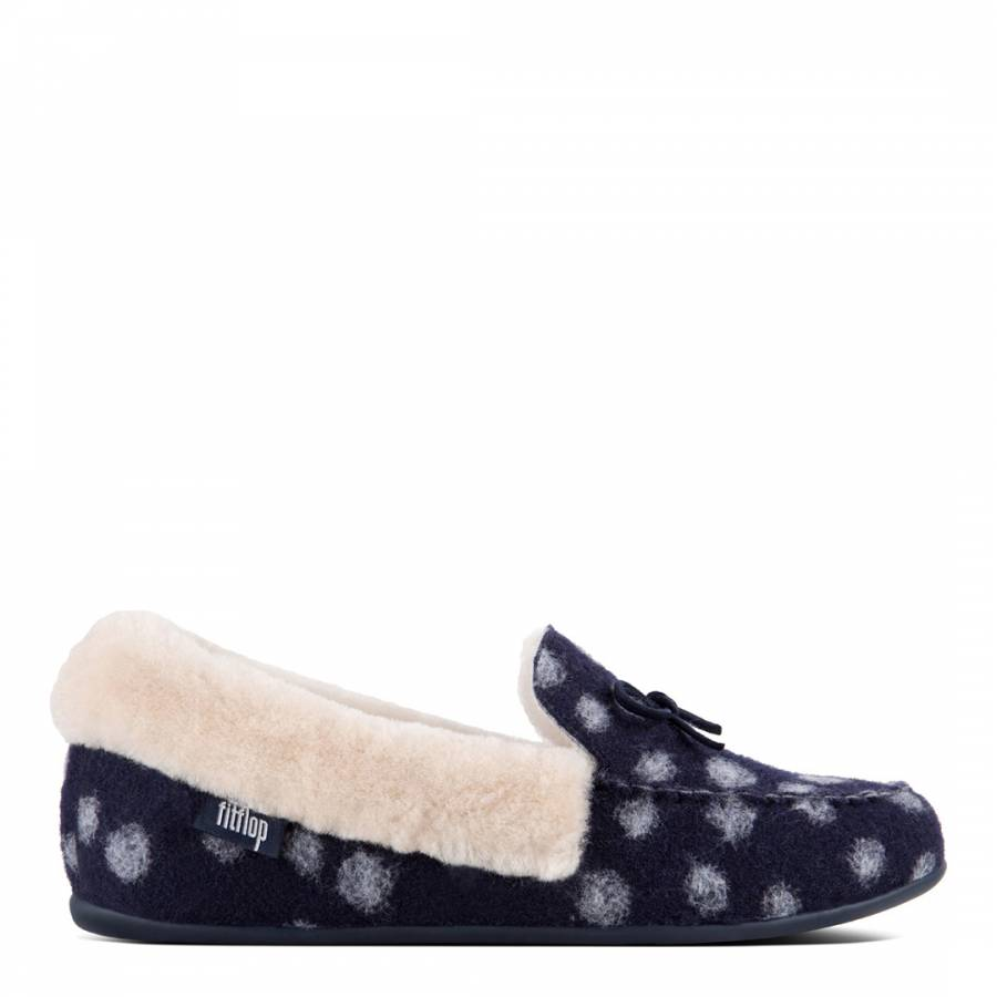 1eff867538ba FitFlop Midnight Navy Polka Dot Wool Clara Shearling Moccasin Slippers
