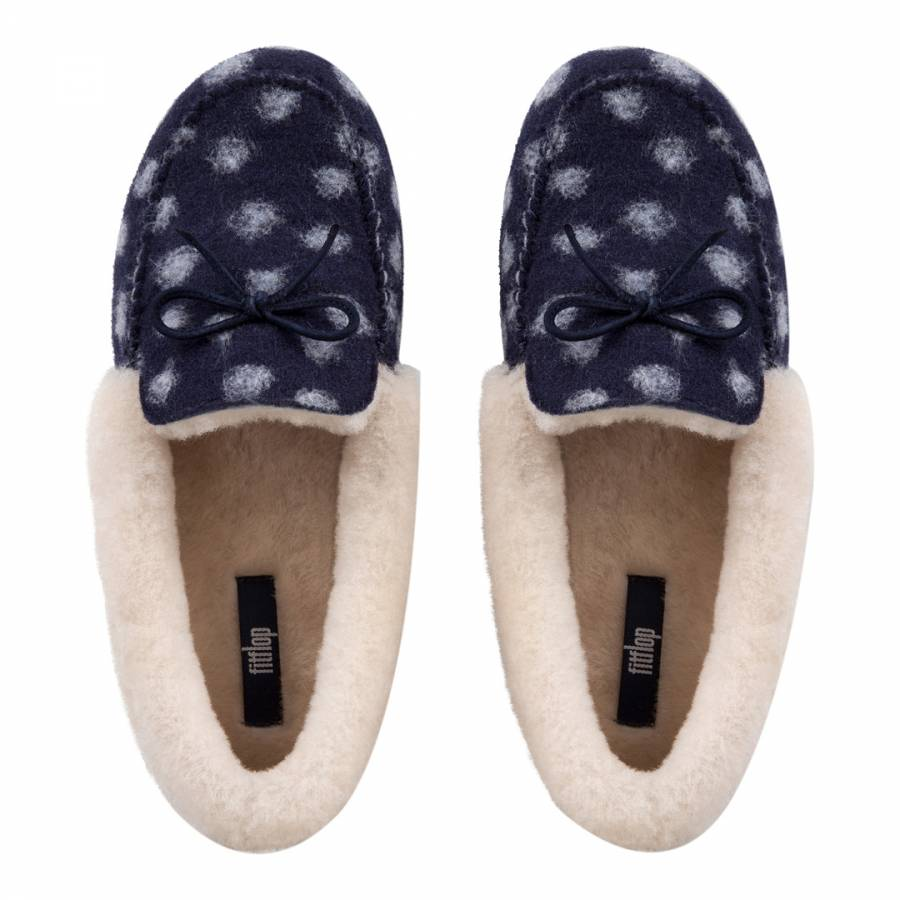 8fbdfb53700ac3 Midnight Navy Polka Dot Wool Clara Shearling Moccasin Slippers - BrandAlley