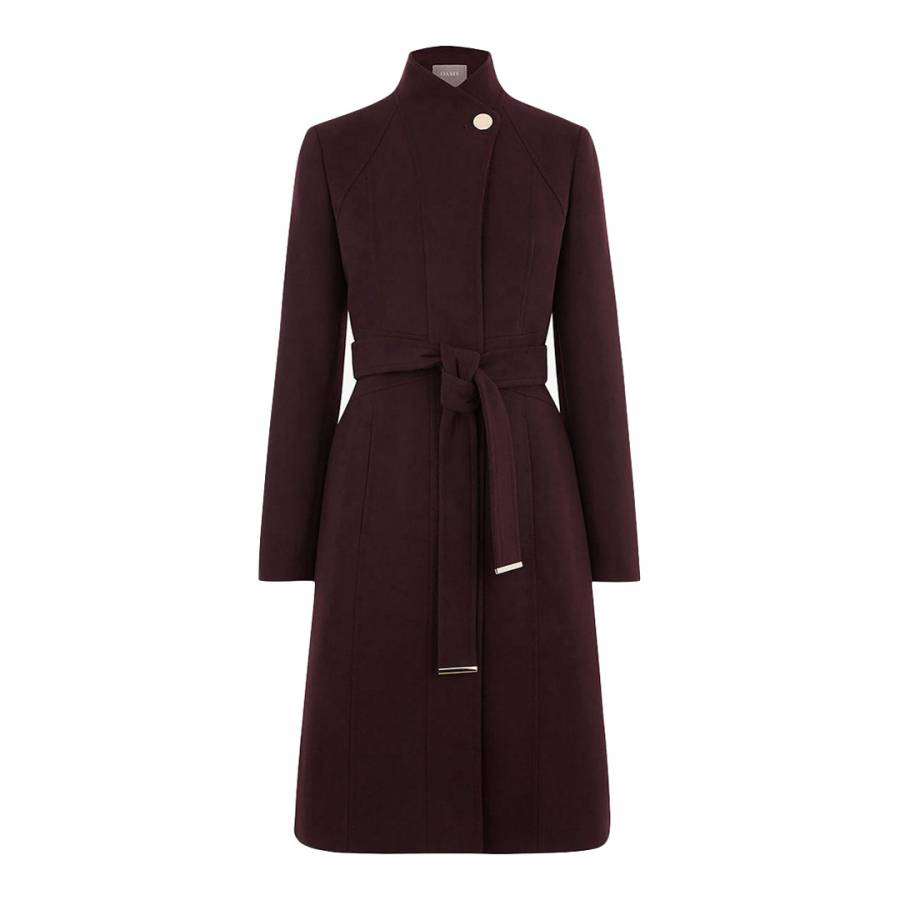 7616f20e7a41 Burgundy Magnolia Panel Fitted Coat - BrandAlley