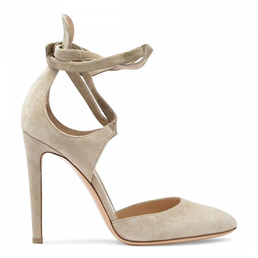Taupe Suede Lace Up Pumps - BrandAlley