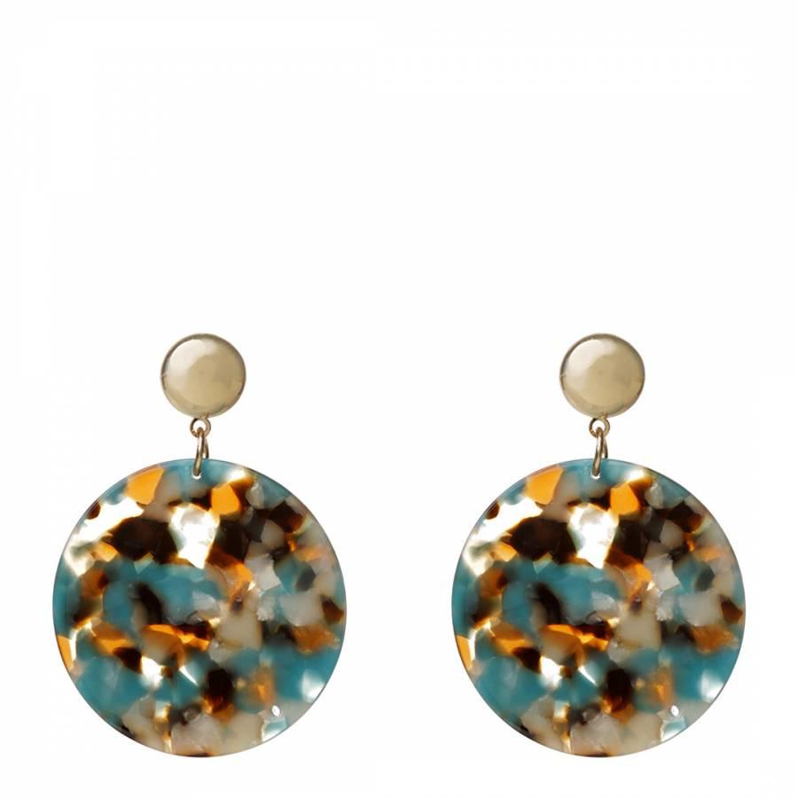 2b0bfa80f Amrita Singh Gold / Turquoise Round Disc Resin Earrings