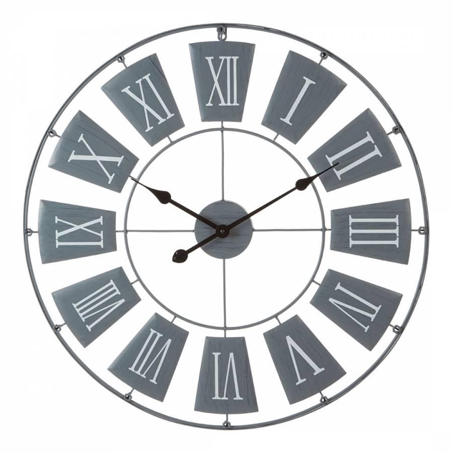 Grey Metal Large Wall Clock