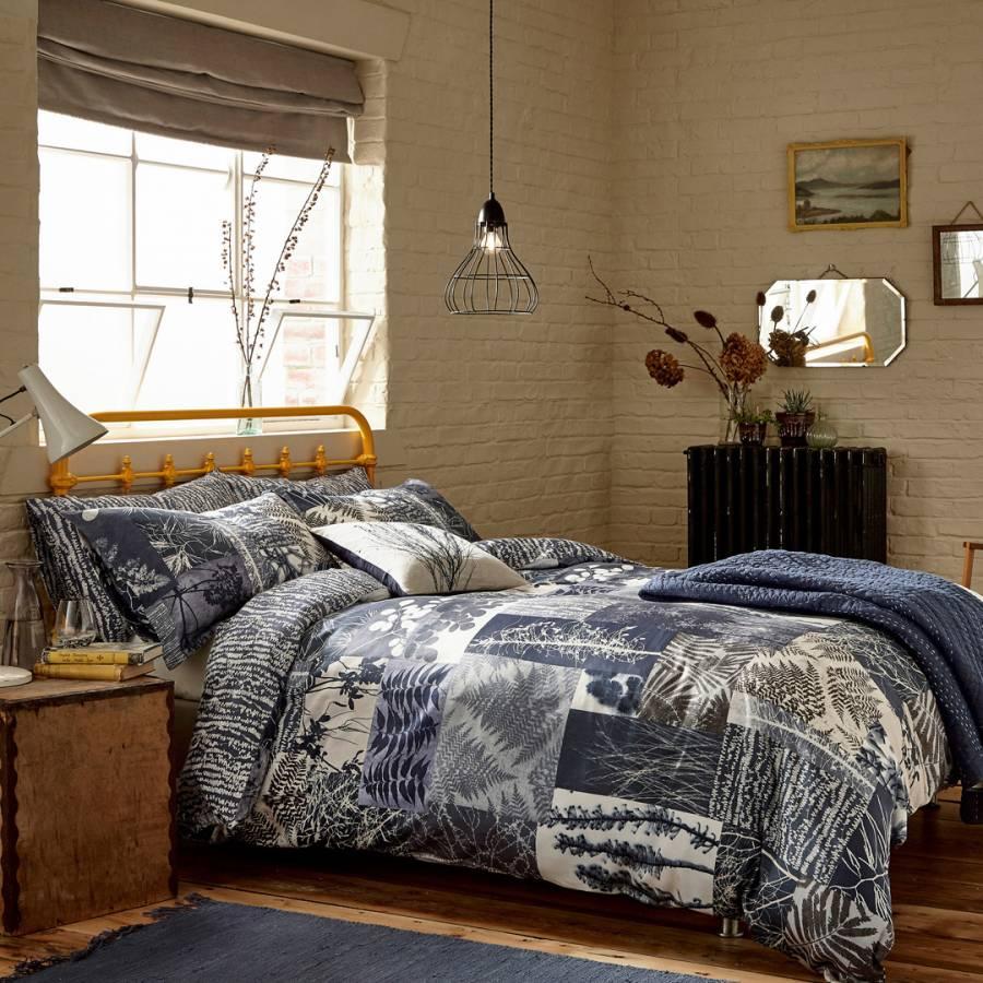 Image of Indigo Patchwork Double Duvet Cover Indigo