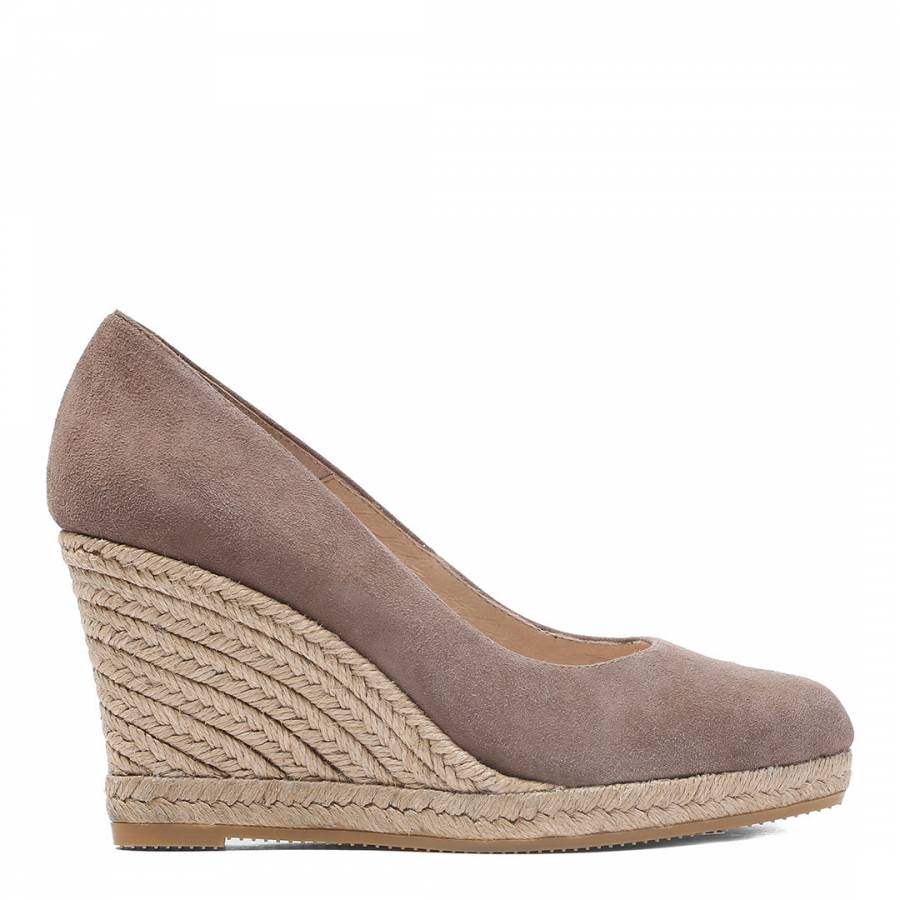 ce2b538cc53 Taupe Suede Wedge Spanish Espadrilles - BrandAlley