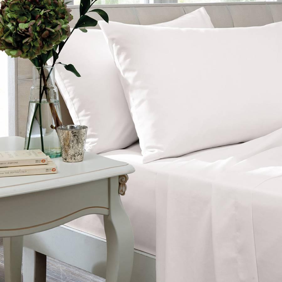 200tc Egyptian Cotton Super King Flat Sheet White