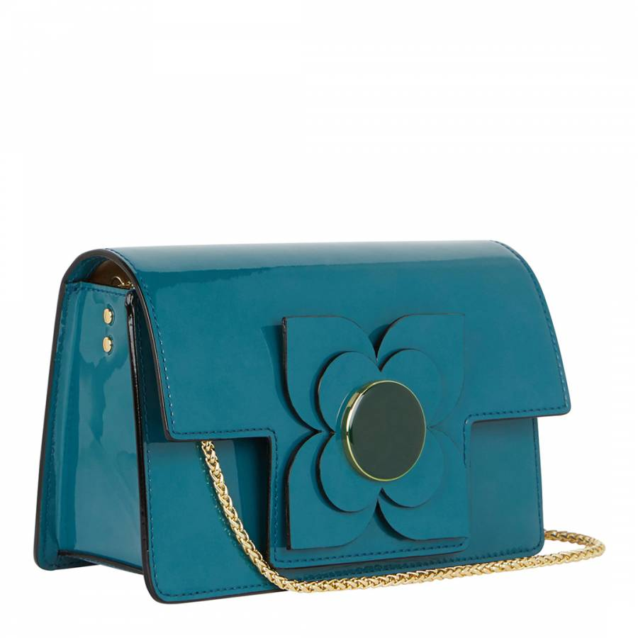 Teal Patent Flower Leather Sweet Pea Bag - BrandAlley 4f40f5ca6bb4f