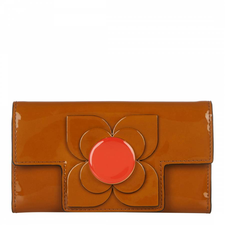 Toffee Patent Flower Leather Flat Flapover Purse - BrandAlley 399346a882ffb
