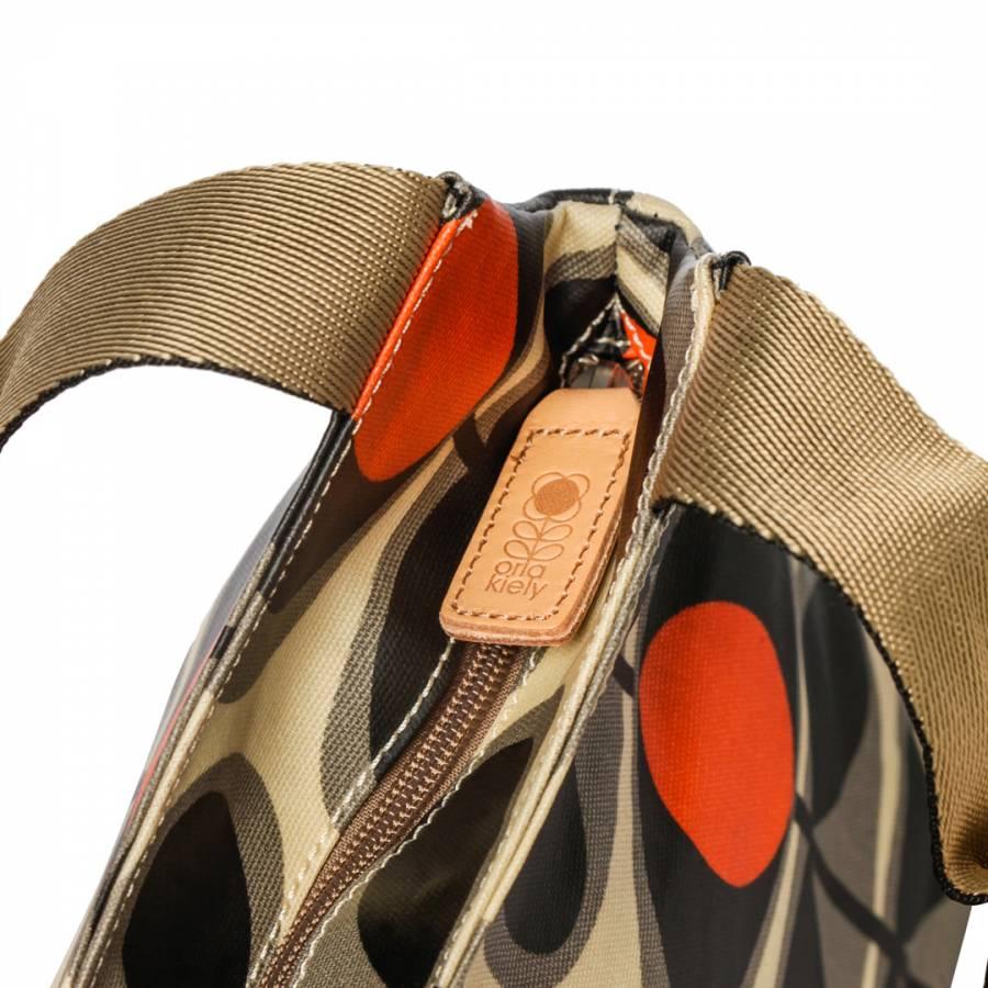 1d5f2d0ca9dd Granite Grey Flower Oval Classic Zip Shoulder Bag - BrandAlley