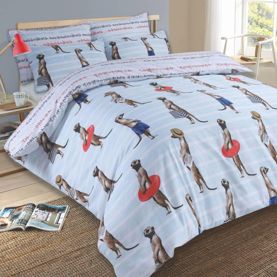 Meerkat Duvet Cover Set Blue