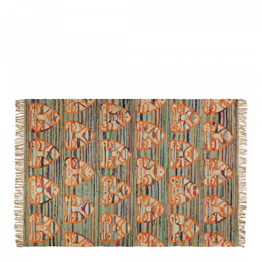 Multi-Coloured Tiger Face Flat Weave Recycled Cotton Rug