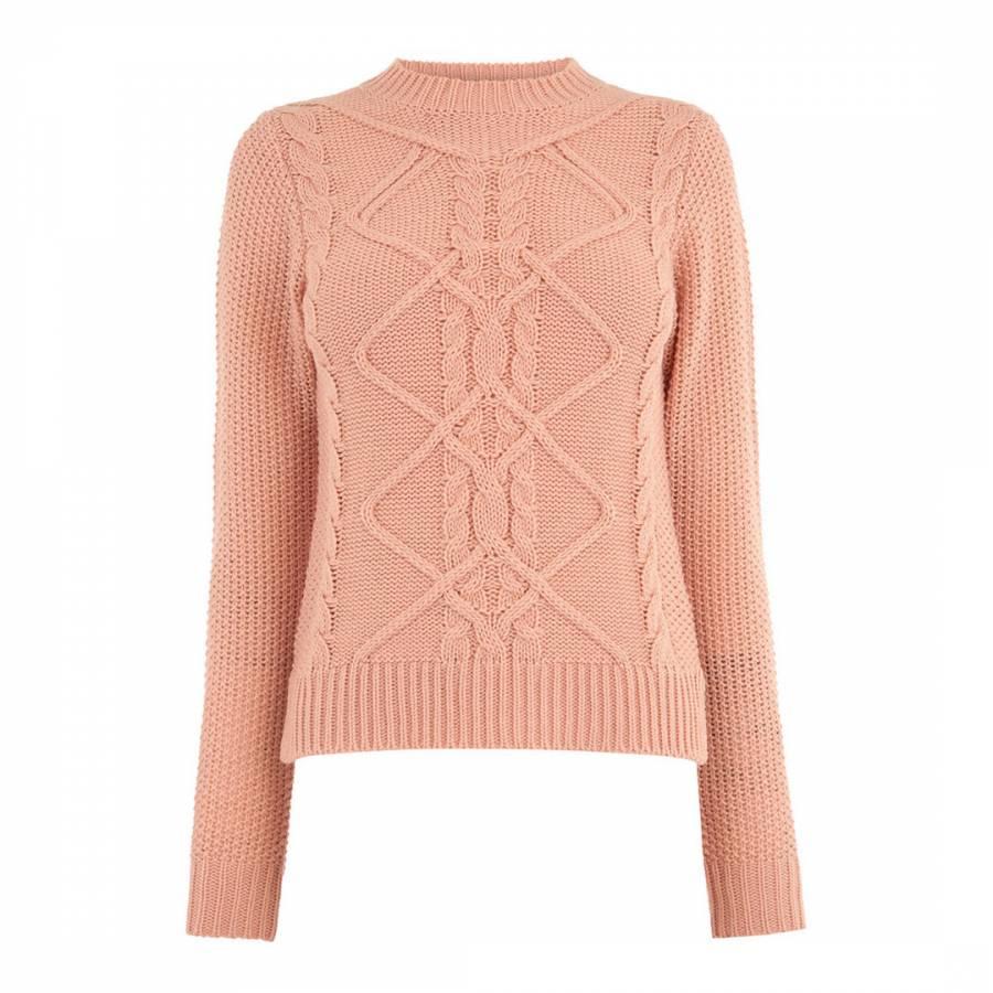 2230e96ec43d Pale Pink Nyla Cable Knit Jumper - BrandAlley