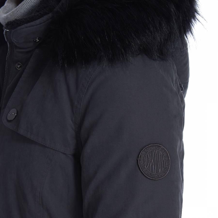 909b99b51 Details about DKNY Donna Karan New York Women's DKNY Grey Black Micro Twill  Parka Jacket