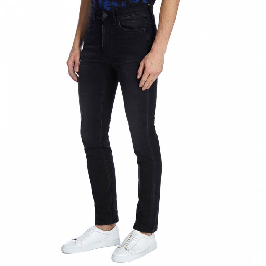 Image of Black Denim Classic Tapered Jeans