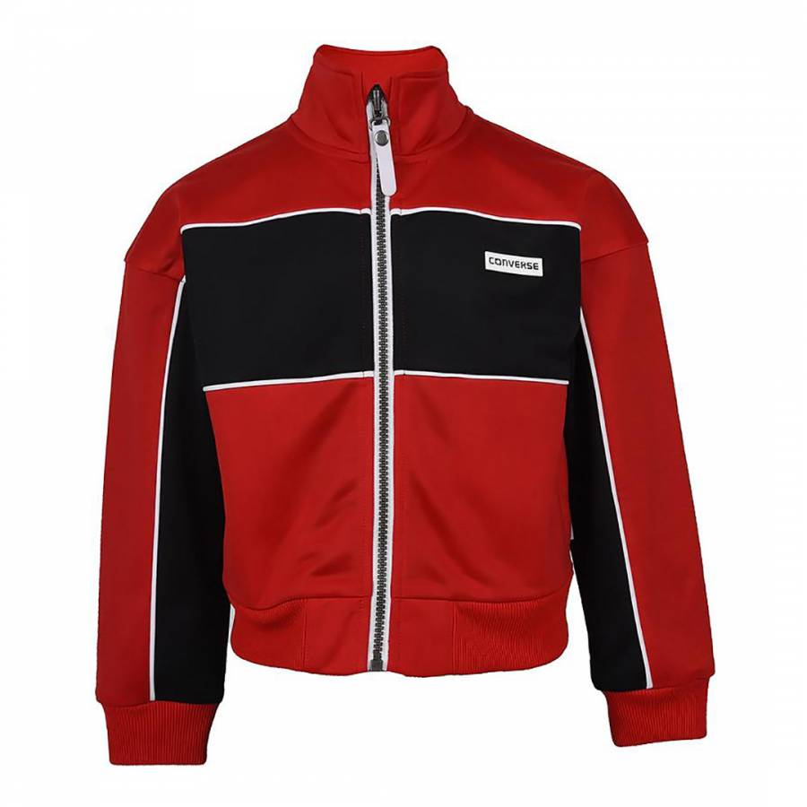 Image of Red Cropped Tricot Warm Up Jacket