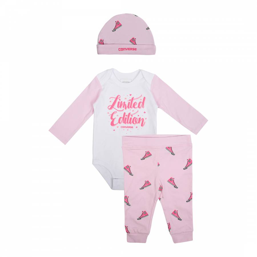ad56adefd5ff Converse Baby Girl s 3 Piece Set Pink Hat