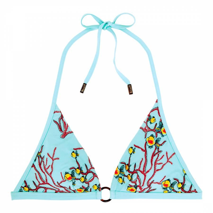 Image of Aqua Coral Fishes Embroidery Bikini Top