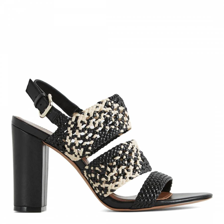 bdd455d53969 Black Neutral Sylvia Woven Block Heeled Sandals - BrandAlley