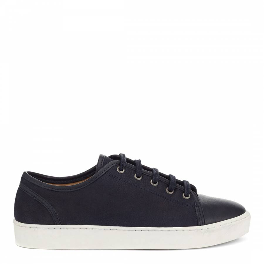 Navy Ayda Leather Trainers - BrandAlley