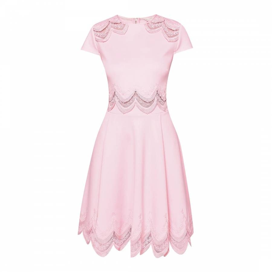4030aa10c532a Baby Pink Rehanna Embroidered Skater Dress - BrandAlley