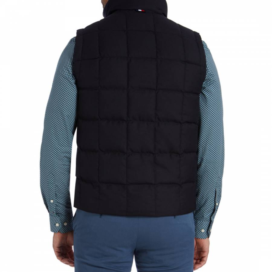 21d4f77f2 Details about TOMMY HILFIGER Men's Navy Wool Blend High Neck Quilted Down  Gilet
