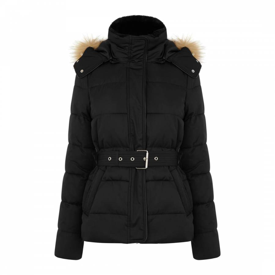 7ddc3e6aaa0f5 Black Short Belted Padded Coat - BrandAlley