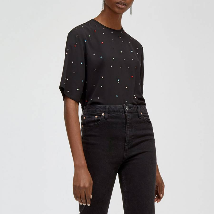 Black Scatter Embellished Tee Brandalley