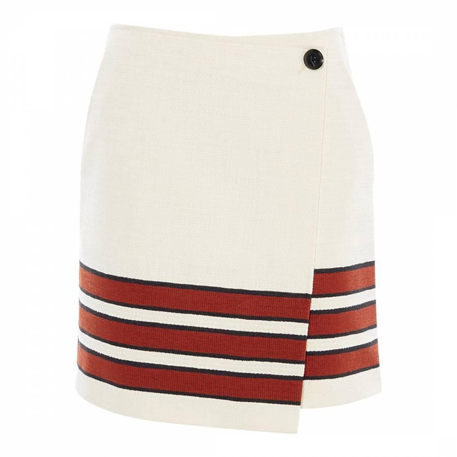9f552773a Karen Millen White Striped Textured Mini Skirt