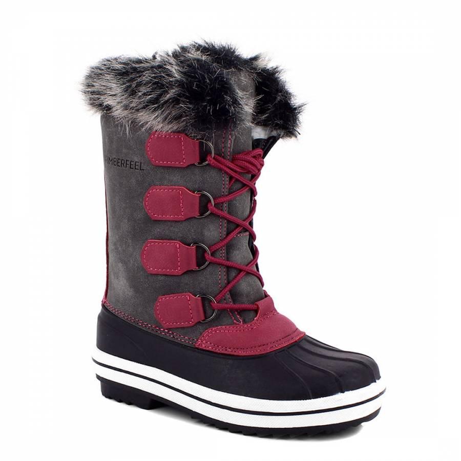 Grey Clara Faux Fur Cuff Winter Boots - BrandAlley