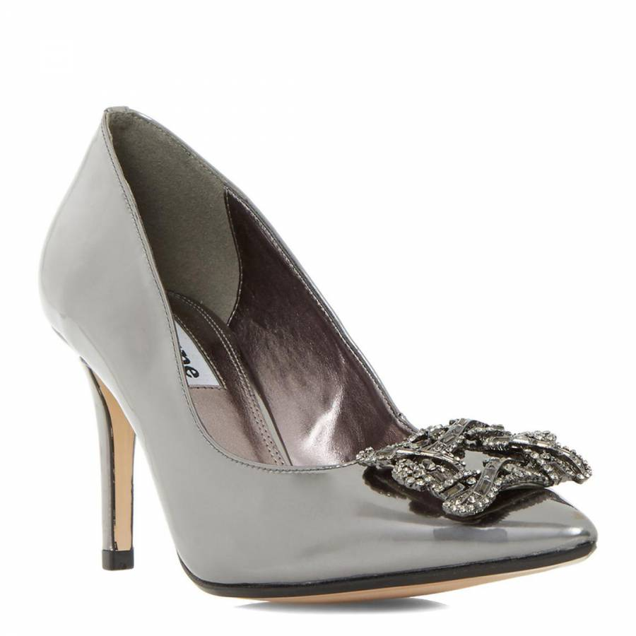 a03c264f258bf Pewter Metallic Betti Jewelled Brooch Court Shoes - BrandAlley