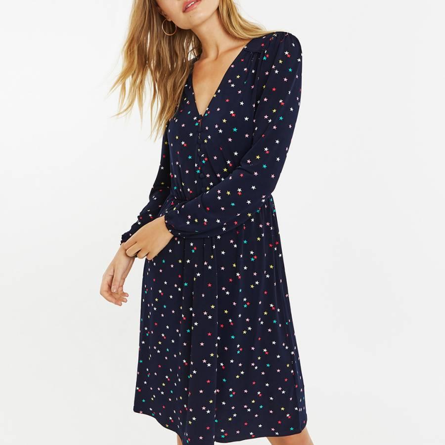 0bbb85813821 Navy/Multi Star Button Long Skater Dress - BrandAlley