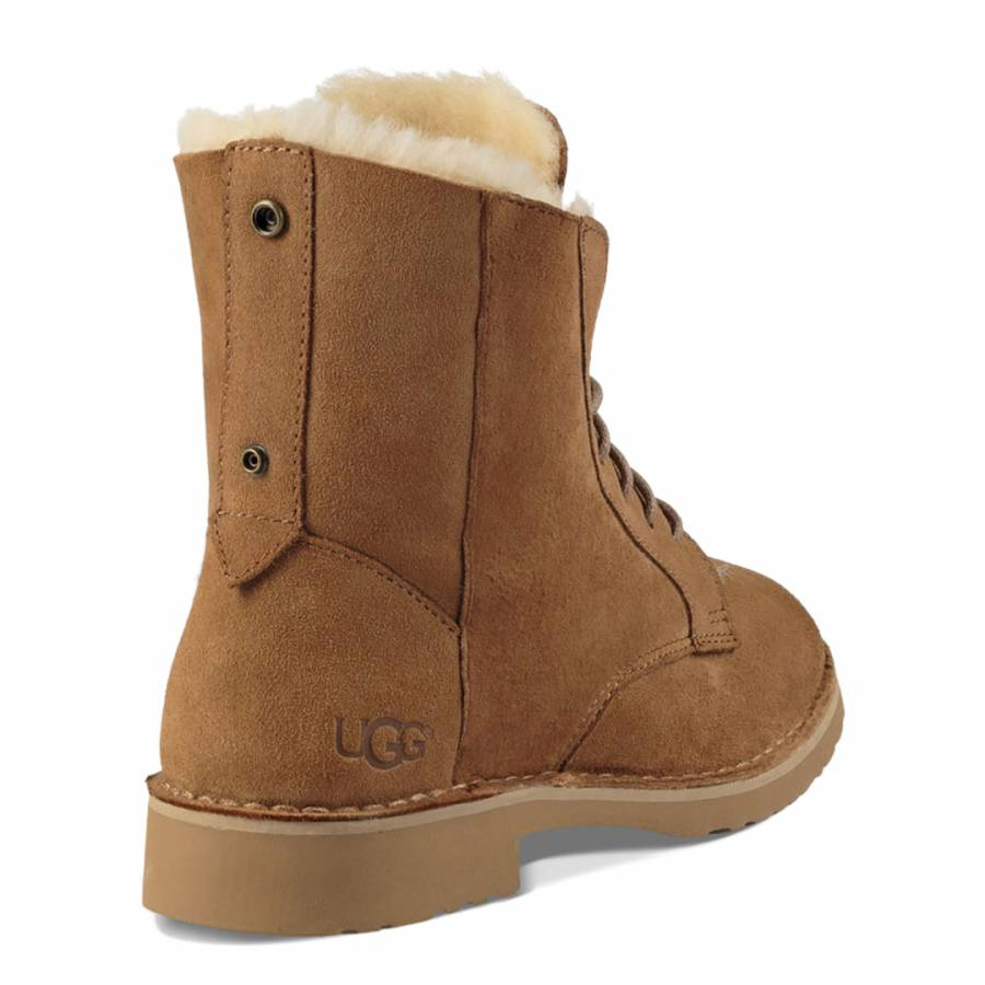 ff87d8b74aa Chestnut Sheepskin Quincy Lace Up Boots - BrandAlley