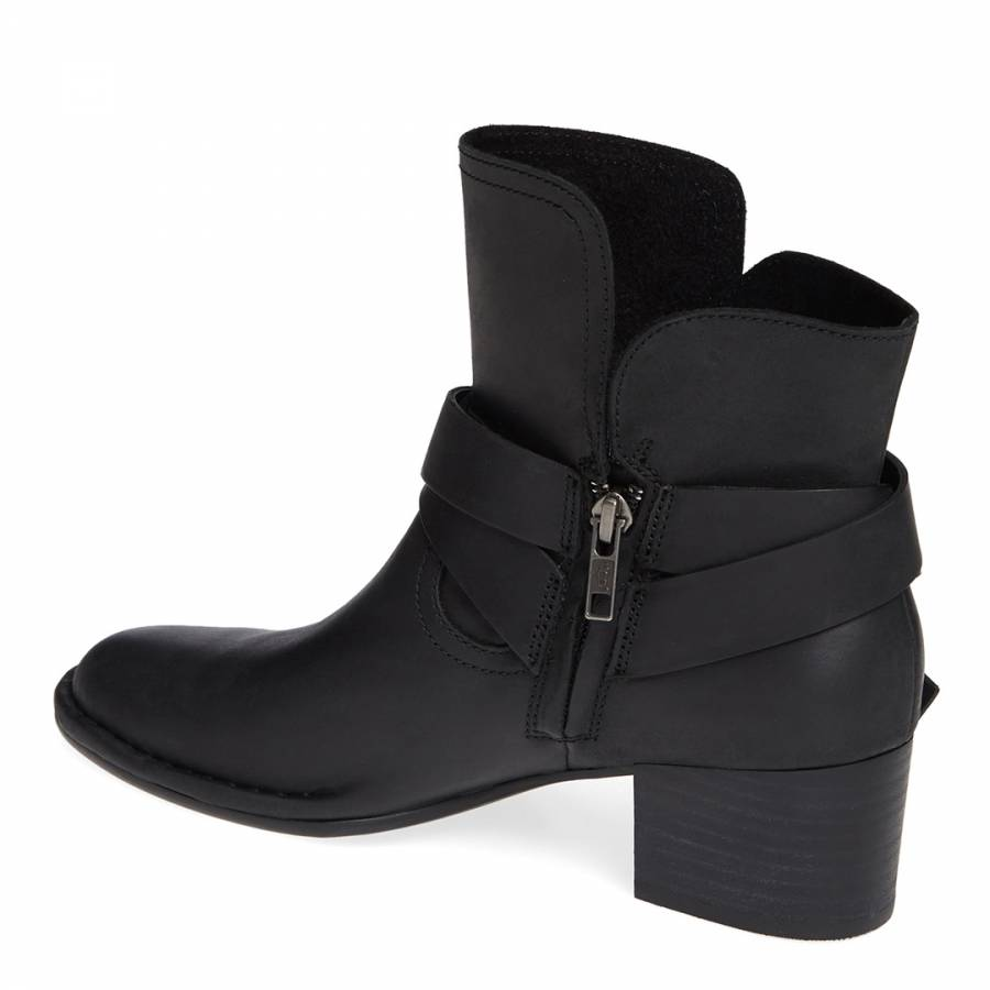 697885050d3 Black Leather Elysian Ankle Boots - BrandAlley