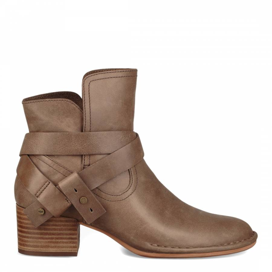 e145d6e69d0 Taupe Leather Elysian Ankle Boots - BrandAlley