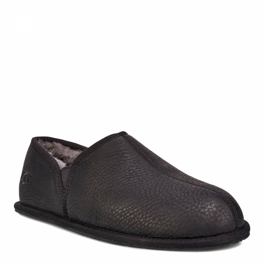 274de11331577 Black Leather Scuff Romeo II Slippers - BrandAlley