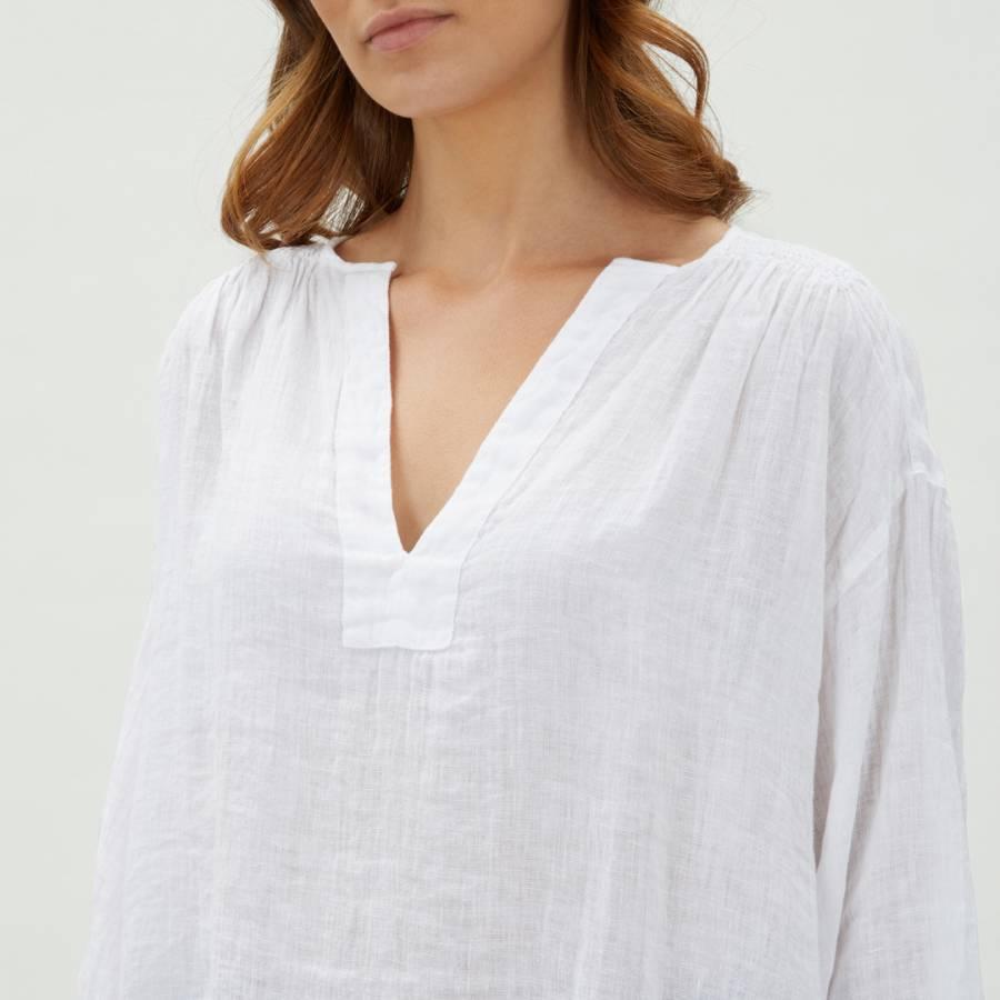 7a5ec002 White Gauze Linen Tunic - BrandAlley