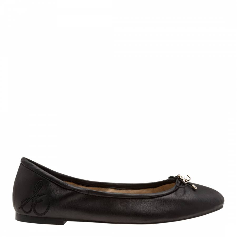 Image of Black Leather Felicia Classic Ballet Flats