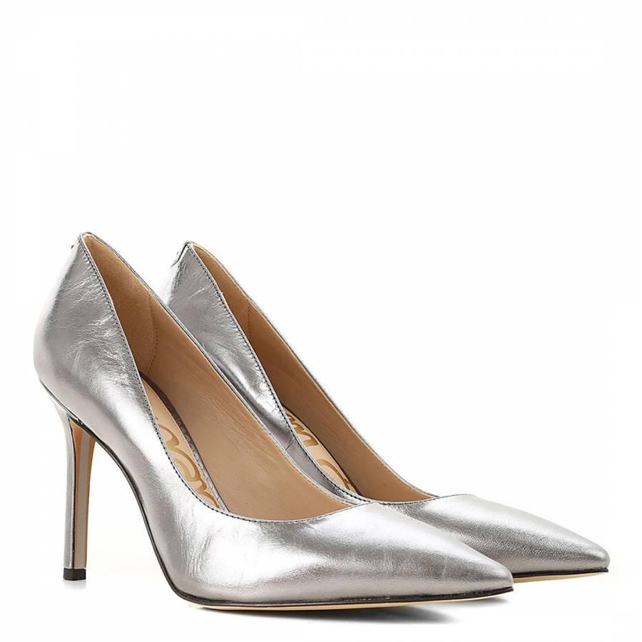 7d0d1c4078575 Silver Leather Hazel Metallic Court Shoes - BrandAlley