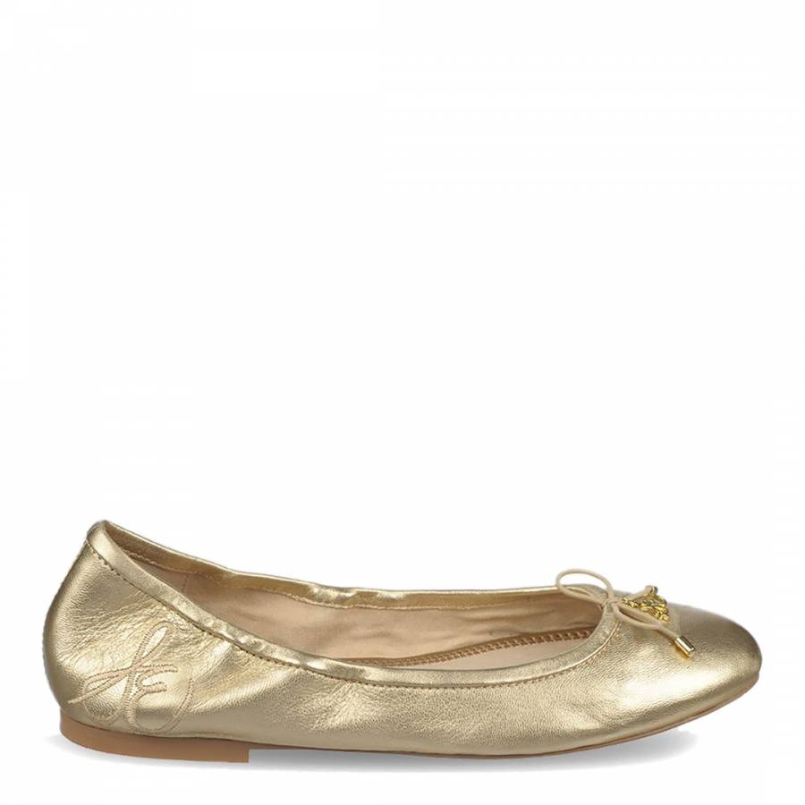 f494375edb07 Molten Gold Leather Felicia Soft Ballet Flats - BrandAlley