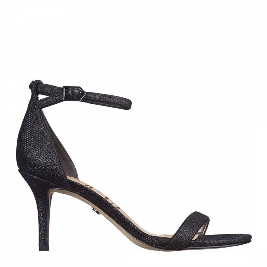 Image of Black Mesh Textured Patti Glam Heeled Sandals