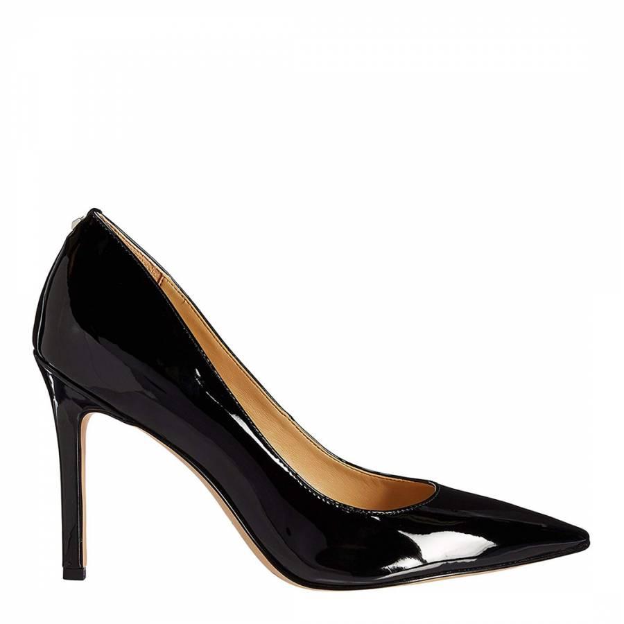 Image of Black Leather Hazel Patent Court Shoes