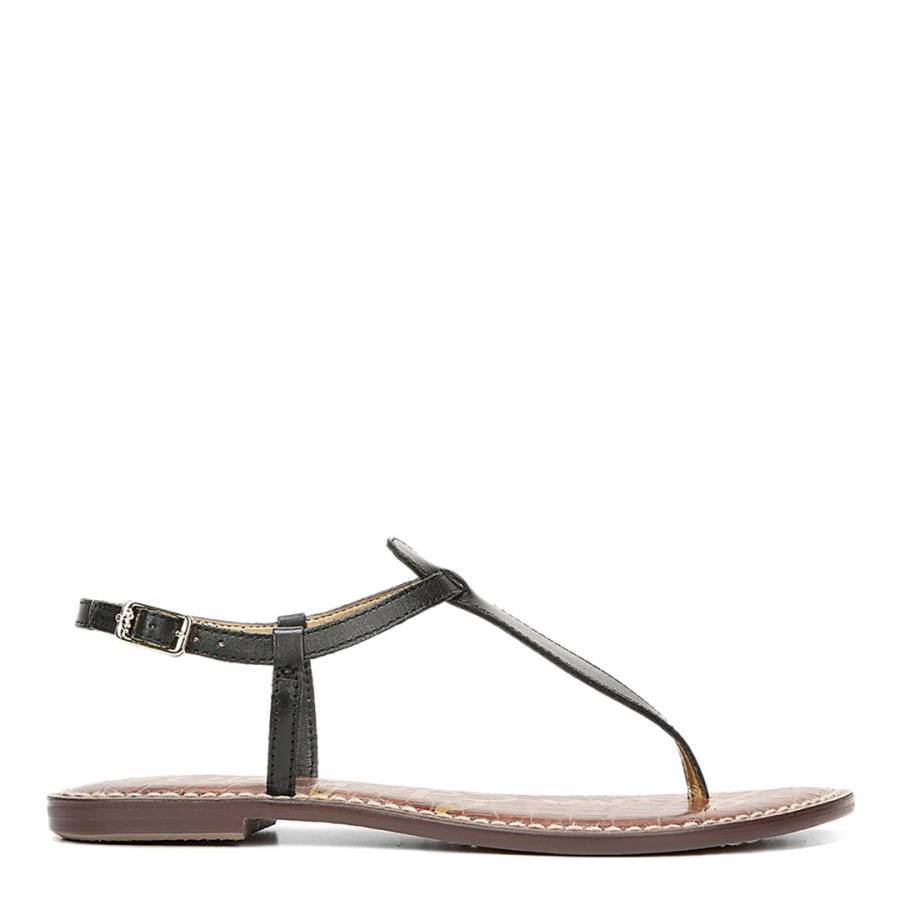c36aefb8fb0759 Sam Edelman. Black Leather Gigi Vachetta Flat Sandals