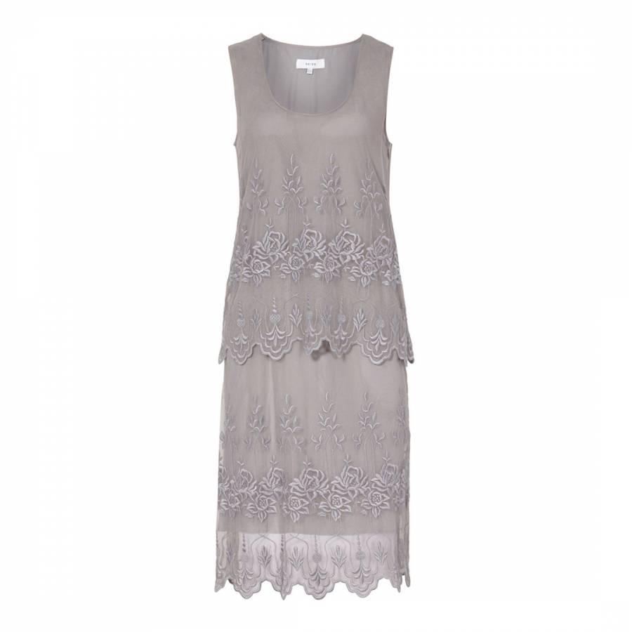 a4442632d9a Grey Multi Oriana Silk Dress - BrandAlley