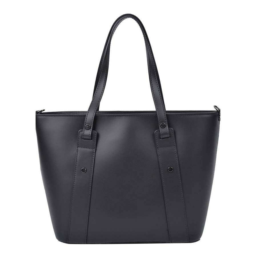 Image of Black Leather Top Handle Bag