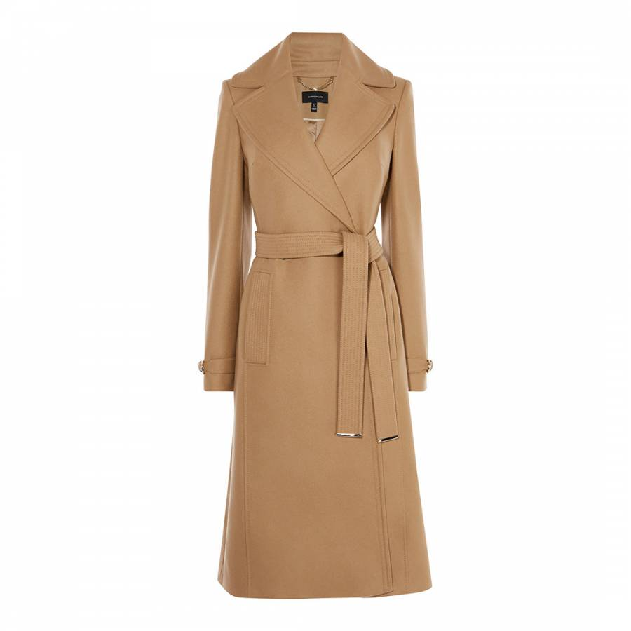 exclusive range fashion styles cheap for discount Camel Belted Wool Blend Trench Coat - BrandAlley